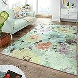 TT Home Moderner Kurzflor Teppich Pastellfarben Florales Design Multicolor Bunt, Größe:60x100 cm