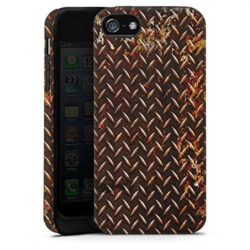 Apple iPhone 5s Housse étui coque protection Rouille Look Métal marron Cas Tough terne