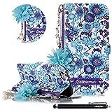 HUDDU Hülle iPhone 6S Blau Schutzhülle Kompatibel mit Apple iPhone 6S/6 Handyhülle Slim Flip Leder Tasche Wallet Case Cover Handyhülle Perle Armband Kette Standfunktion Kartenfach - Blume F