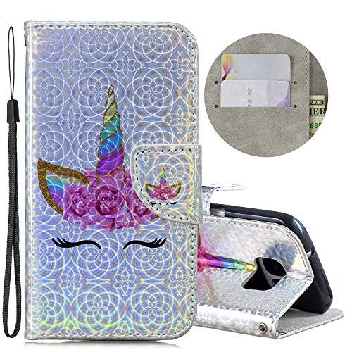Tifightgo Lederhülle Kompatibel mit Samsung Galaxy S7,Galaxy S7 Hülle mit Ständer,Luxus Bunter Laser Auge Muster Schutzhülle PU Leder Cover Brieftasche Bling Glitzer Handyhülle für Samsung Galaxy S7