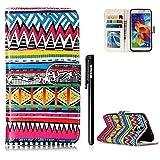 Hülle Samsung Galaxy S5,BtDuck PU Leder Ultra Slim Dünn Weich Tasche Bunt Muster Brieftasche Weich Silikon Back Cover Hülle Schutzhülle für Samsung Galaxy S5 Stand Flip Wallet Case