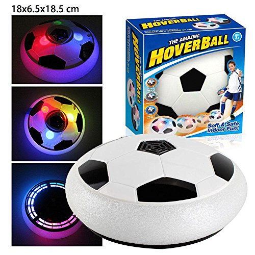 leegoal Air Power Fußball, (TM) Amazing Hover Ball mit kraftvoller LED-Licht, E Soccer Fußball Disc Ball Spielzeug für Innen oder Außenbereich mit Eltern Spiel, L-White -