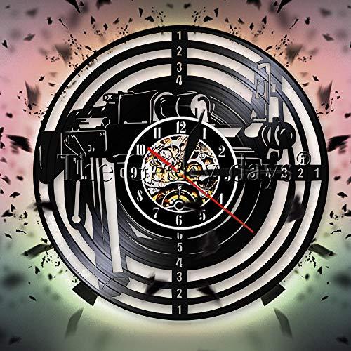 LTOOD Cowboy Bandit Revolver Pistolets Armes Chapeau Art Décor 3D Horloge  Murale Vintage Vinyle Record Horloge Murale Montres Cadeau pour Amant De