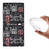 WoowCase Bq Aquaris E5s - E5 4G Hülle, Handyhülle Silikon für [ Bq Aquaris E5s - E5 4G ] London Symbole Handytasche Handy Cover Case Schutzhülle Flexible TPU - Transparent