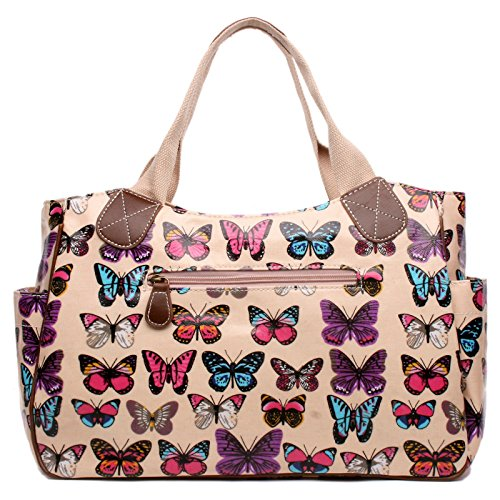 Miss Lulu Women's Mädchen mit Eulen-Motiv, Wachstuch, gepunktet, Schmetterling, Scottie Dog Tag Shopper-Bag Butterfly Pink
