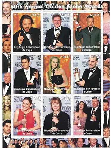 Briefmarken für Sammler-perforfated Stempel Tabelle mit 59th einjährig Golden Globe Awards/Russell Crowe/Harrison Ford/Nicole Kidman/Demokratische Republik Kongo -