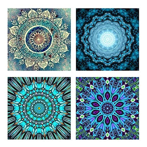 5D Diamant Malerei Kits, 4 Stück DIY full-crystal Strass painting-diamond Dotz Dots für Study Room, Flower Painting - Wand Décor Stress und Angst Relief, Killing Time (4-Set) weiß -