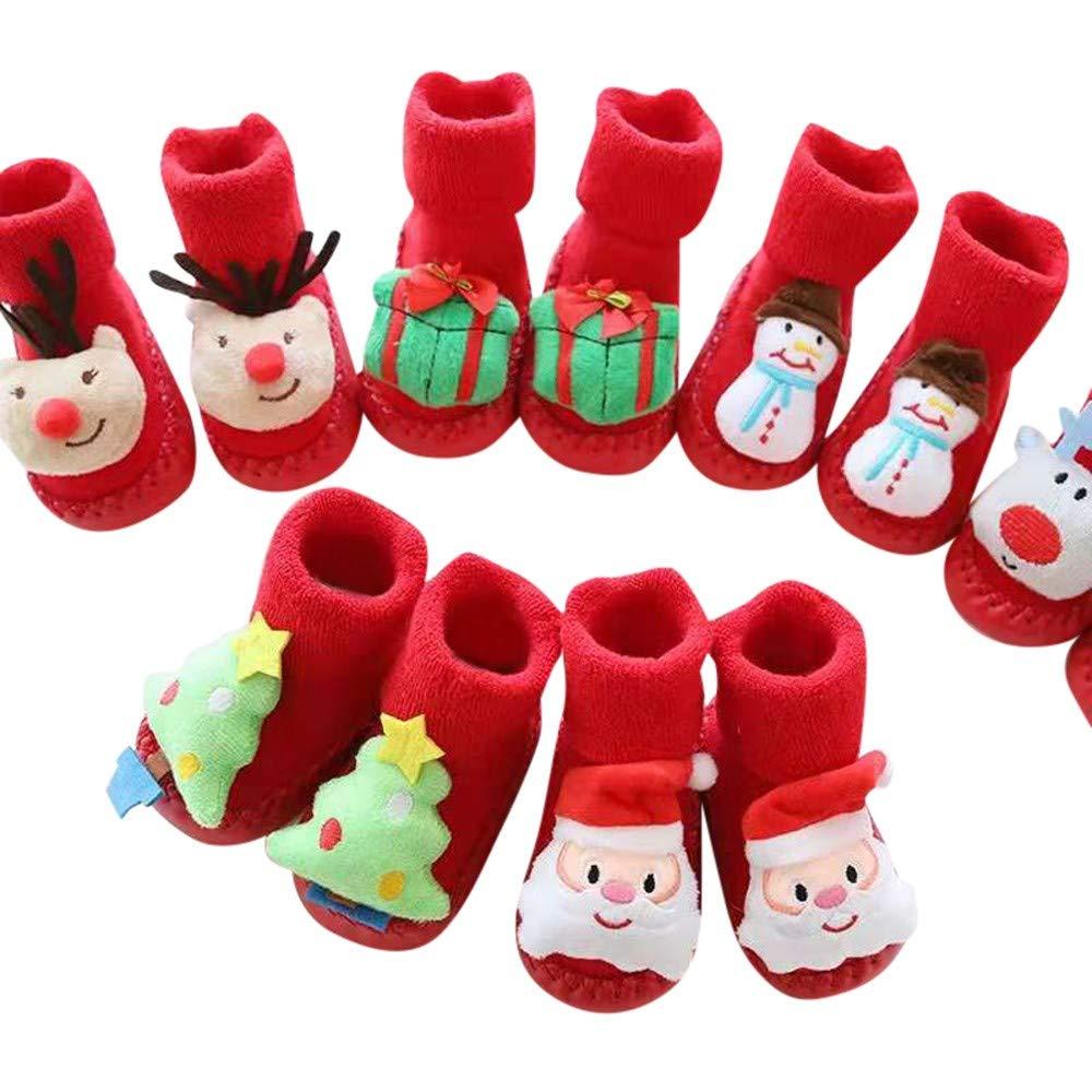 Navidad Calcetines Bebe Ni/ña Bautizo para Ni/ñas Ni/ños Infantil Fossen Kids Calcetines Bebe Ni/ña Antideslizantes Algodon Invierno con Estampado Animal de Dibujos Animados