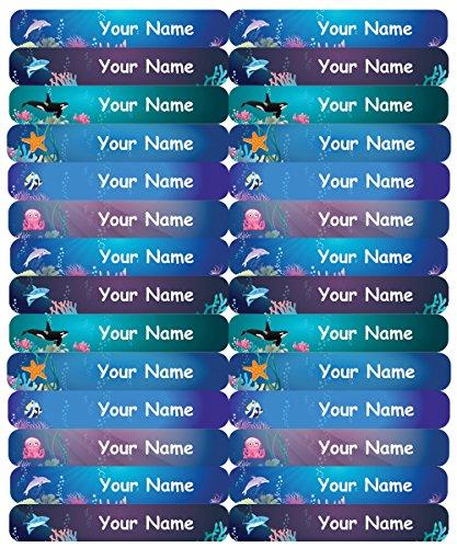 48 Personalisierte, wasserdichte, dünne, klebende Namensetiketten für Kinder (50x7mm) - Unterwasser Design