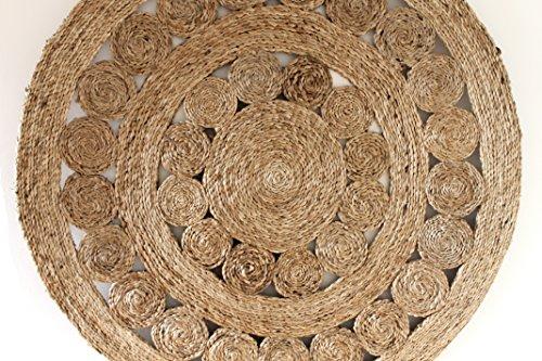 Mano Costura India yute redondo círculo decorativo alfombra por kuishi