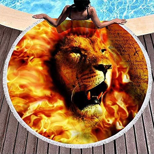 Leo-Shop Magische Feuer Löwe Löwe Tier Artwork Print Wasser absorbierende Runde Badetuch Mandala RoundBeach Throw Kreis Picknick Teppich