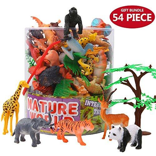 Figure Animali, 54 Pezzi Mini Giungla Giocattoli Set, Mondo Zoo Realistico Selvaggio Vinile Plastiche Risorse di Apprendimento Bomboniere per Ragazzi Bambini Foresta Piccola Fattoria Giocattoli Giochi