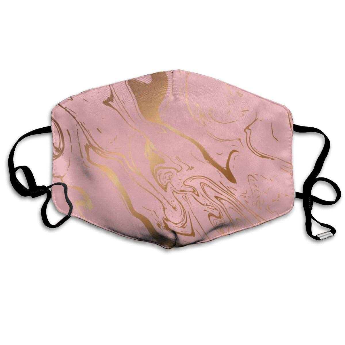 Bdwuhs Mascarillas Bucales,Boca Máscara Dust Mask for Women and Men Pink Marble with Gold Printed Foldable Mask Face Mask Anti-Dust Mouth Mask
