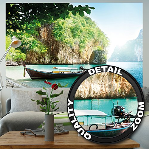 gardinen modern wei  Fototapete Fischer-Boot in tropischer Bucht Wandbild Dekoration Urlaub Reisen Strand Paradies Bay Natur Insel Meer Travel Beach | Foto-Tapete Wandtapete Fotoposter Wanddeko by GREAT ART (210x140 cm)