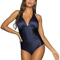 WIN.MAX Costume Intero Donna, Costumi da Bagno per Il Controllo della Pancia, Monokini con Arricciatura Push up, Costumi…