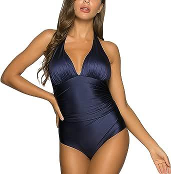 WIN.MAX Costumi da Bagno Interi per Donna Scollo a V Costume Intero Donna con Controllo della Pancia Monokini con arricciature, per Coppe da D a G