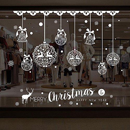 Kicode Weihnachtsschneeflo Fröhliche Weihnachten Fensteraufkleber Aufkleber Hängende Bälle Shinning Stern Schneeflocke herausnehmbar Fensterabdeckungen Decor