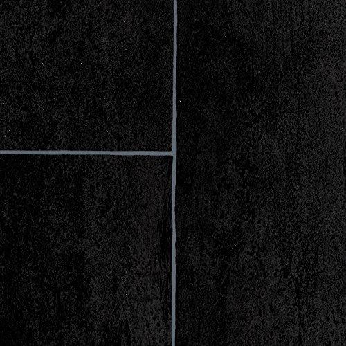PVC Bodenbelag Steinoptik   Fliesenoptik anthrazit schwarz   200, 300 und 400 cm Breite   Meterware, verschiedene Größen   Größe: 3 x 3 m