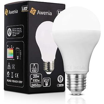 Awenia Bombilla LED Esférica E27 20W (Equivalente a 150W), Luz LED 6500K 2452 Lúmenes Blanco Frío