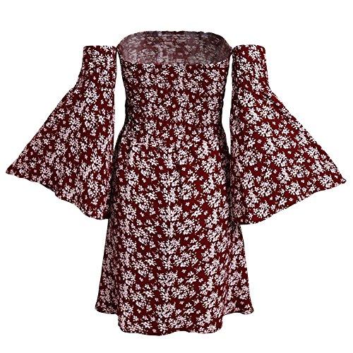Vintage Vestiti Donna Sexy Stampa Fiores Abito Estivi Manica Lunga Spalla di Parola Fasciante Casual Abito da Sera Partito Festa Banchetto-LATH.PIN Rosso