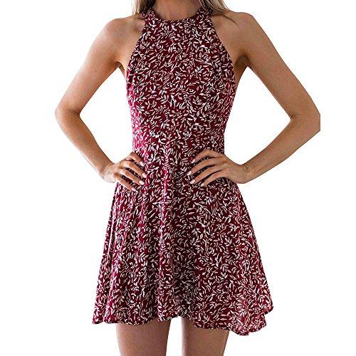 BHYDRY Frauen hängen Hals Bandagen Kleid Damen Sommer Floral Print Partykleid(X-Large,Wein