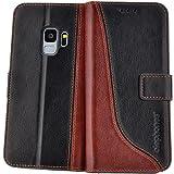 elephones Handy Hülle Samsung Galaxy S9 Hülle mit Kartenfächer Standfunktion Geldscheinfach Handy Tasche Samsung Galaxy S9 Schutzhülle Flip Case Cover Schwarz - Braun