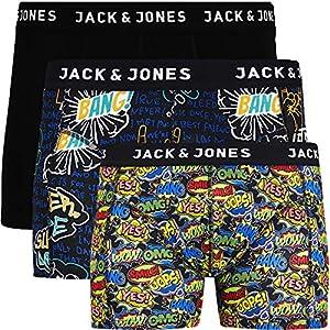 Jack & Jones – Calzoncillos tipo bóxer para hombre (3 unidades, algodón)