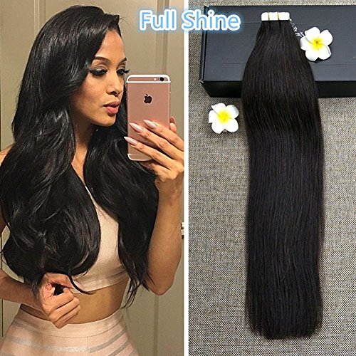 Full Shine 18 Zoll Natural Black #1B Silky Smooth 100% Remy Brazilian Echthaar Extensions 40 Stuck/100g Tape-In Extensions