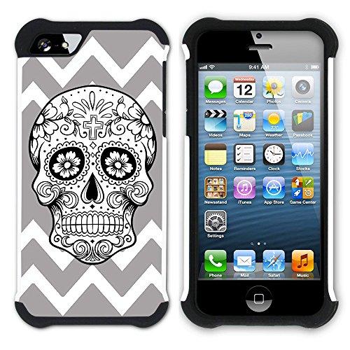 Graphic4You Mexikanische Zuckerschädel Winkel Muster (Wasserblau) Hart + Weiche Kratzfeste Hülle Case Schale Tasche Schutzhülle für Apple iPhone SE / 5 / 5S Grau