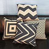 Leathlux 4pcs Moda Simple Lino y Algodón Blend Funda de Cojín Almohada Home Decor Decorativos para Sofá Cama Coche 42X42 CM SET OF 4