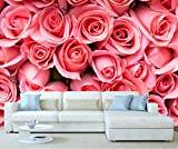 StickersWall Giant Pink Roses Flower Wall Mural Photo Wallpaper Picture Self Adhesive 1035 (342cm(W) x 242cm(H))