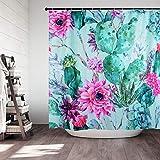Cactus and Flower Fabric Shower Curtain for Women Ladies Girls Waterproof Mildew Resistant Flower Shower Curtain 71x71 inches Green Floral Shower Curtain