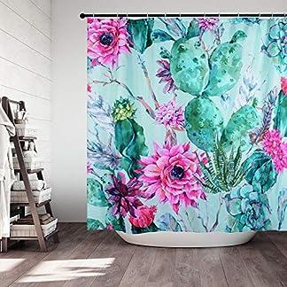 NIBESSER Cortina de Ducha, Cortinas de Baño Impermeable Originales Antimoho 3D Digital Impresión Plantas Flores Cactus Divertida Cortina Accesorios de Ducha Bañera con 12 Ganchos, 180cmx180cm