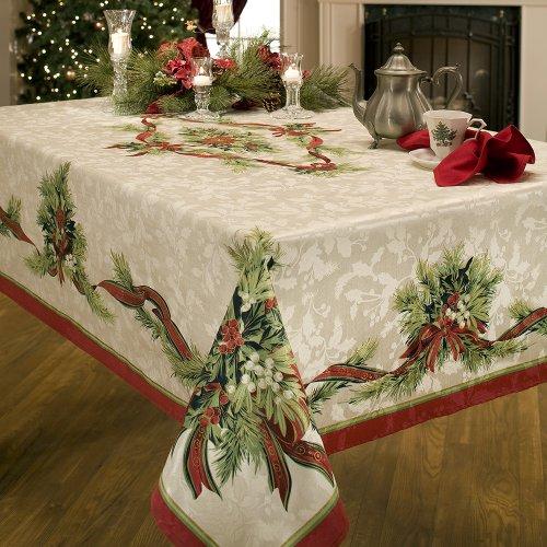 Benson Mills Navidad Cintas de ingeniería de algodón Mantel, 55-Percent 45-Percent poliéster