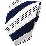 TigerTie - lazo de satén - azul oscuro blanco plata rayas