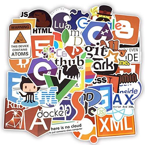 Zorux - 50 Coole Programmier-Aufkleber Logo, Internet-Software-Aufkleber, lustiges Geschenk für Geeks, Hacker, Entwickler, zum Basteln von Laptops und Handys