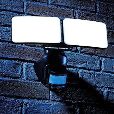 Auraglow PIR Infrared Motion Sensor Outdoor Twin Security LED Flood Light 46W, 300W EQV