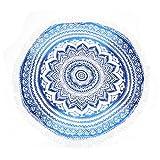 KING DO WAY Mandala Runde Farbverlauf Strandtuch multifunktional und umfassend Pool-Party Wand-Dekor Strand-Wurf Tischdecke Hellblau