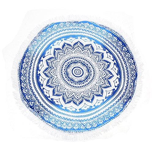 Preisvergleich Produktbild KING DO WAY Mandala Runde Farbverlauf Strandtuch multifunktional und umfassend Pool-Party Wand-Dekor Strand-Wurf Tischdecke Hellblau