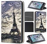 Samsung Galaxy Xcover 3 Hülle von CoverHeld Premium Flipcover Schutzhülle Xcover 3 aus Kunstleder Flip Case Motiv (1452 Eifelturm Paris Frankreich Seine)