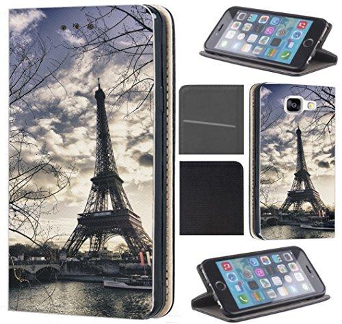 CoverFix Premium Hülle für Samsung Galaxy S7 Edge G935F Flip Cover Schutzhülle Kunstleder Flip Case Motiv (1452 Eifelturm Paris Frankreich Seine)
