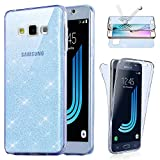 Coque [Avant + Arriere] Samsung Galaxy J3 2016 , Housse PailletteEtui Gel Silicone protection intégral 360° Paillette Bleu - E.F.Connection