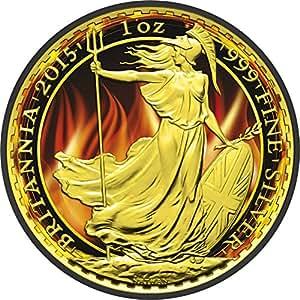 BURNING BRITANNIA Black Ruthenium 1 Oz Silver Coin 2£ United Kingdom 2015 Pièce Monnaie