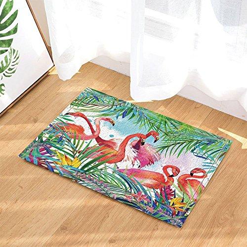 GoHEBE Tropical Birds Decor Watercolor Flamingo in Blumen mit Palm Blätter Bad Teppiche rutschhemmend Fußmatte Boden Eingänge Innen vorne Fußmatte Kinder Badematte 39,9x 59,9cm Badezimmer Zubehör (Bad Blatt)