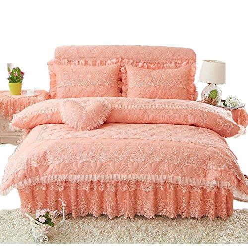 Bettdecke Plus Baumwolle Prinzessin Prinzessin Wind Spitze Ordentlich Rutschfeste Einfache Vierteilige (Spitze Florales Kissen)