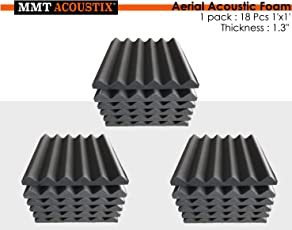 """MMT Acoustix Soundproofing Aerial Acoustic Foam 1x1 Feet 1.3"""" (Set Of 18) Professional Charcoal"""