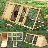 Garden Mile®, grande conigliera in legno, per interni, da giardino, per porcellini d'india e polli A forma triangolare, per permettere agli animali di rincorrere la preda.