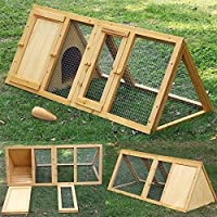 Garden Mile® Large Wooden Rabbit Hutch Indoors Guinea Pig Run Outdoor Garden Chicken Coop And Run. Wooden Animal Pen Pet House Predator Proof Triangular Shaped Rabbit Hutch And Run.