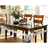 Fashmet 6 Seater Transperent Dining Table Cover 60 X 90 Inches(5 Feet x 7.5 Feet) with Golden Floral Lace (Transparent, Silve