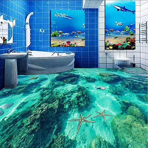 3D Wandbild Benutzerdefinierte 3D Boden Tapete Unterwasserwelt Toilette Badezimmer Schlafzimmer Boden Wandbild Pvc Wasserdicht Selbstklebendes Papier Der Wand 3D-250x175cm - 3700 Papier